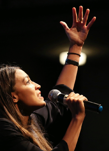 U.S. HOUSE CANDIDATE ALEXANDRIA OCASIO-CORTEZ (D-NY) SPEAKS AT A PROGRESSIVE FUNDRAISER ON AUGUST 2, 2018, IN LOS ANGELES.
